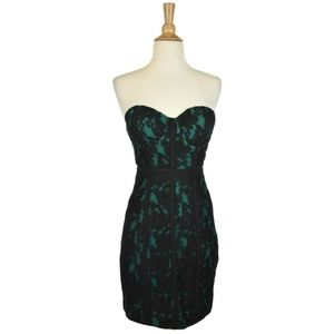 Guess Green and Black Lace Strapless Dress
